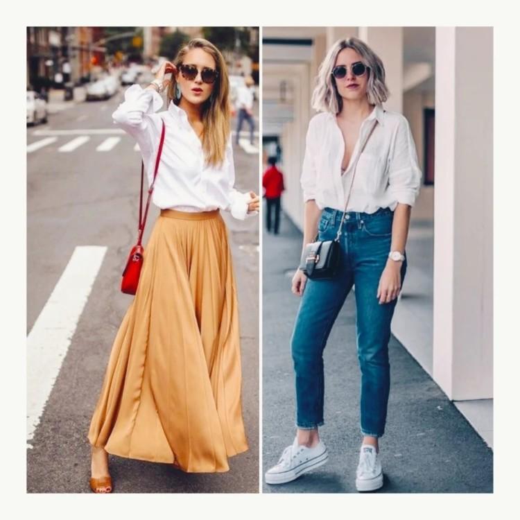 Біла сорочка в поєднанні з джинсами та сукнею